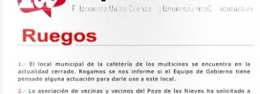 Mociones, ruegos y preguntas al Pleno del Ayuntamiento de Cuenca