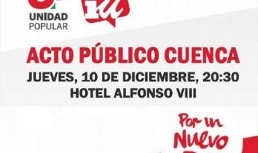 Unida Popular-Izquierda Unida celebrará un acto en la capital con el diputado José Luis Centella.
