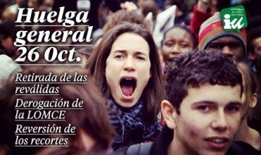 """Izquierda Unida muestra su """"total apoyo"""" a la huelga educativa del 26O contra las reválidas."""