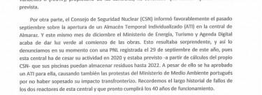 Diputad@s de Izquierda Unida registran en el Congreso preguntas sobre el cementerio nuclear.