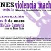 Concentración contra la Violencia Machista – 9 de enero a las 20h, c/ Carretería.