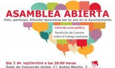 Asamblea local de Izquierda Unida: 5 de septiembre a las 20h.
