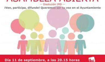 Asamblea Abierta IU: Lunes 11 de septiembre a las 8.15h.