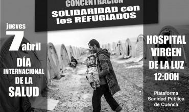 Concentración solidaridad con los refugiados con motivo del Día Internacional de la salud.