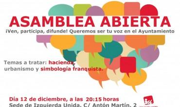 Asamblea Local Abierta de Izquierda Unida, lunes12 de diciembre.