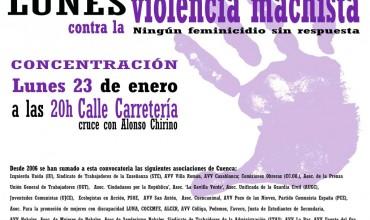 Concentración contra la #ViolenciaMachista lunes 23 a las 20h.