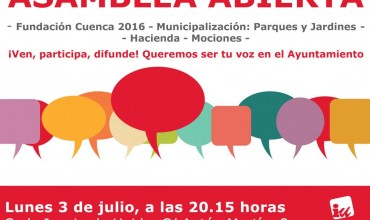 Asamblea Abierta IU: lunes 3 de julio a las 20.15h