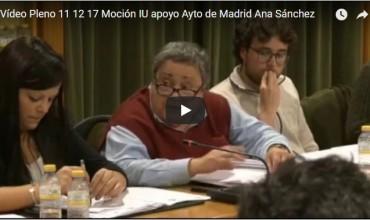 Vídeo del pleno de diciembre sobre la moción de IU apoyo Ayto de Madrid – Ana Sánchez